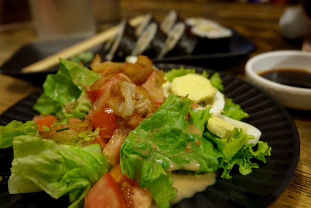 """ALT=""""green salad ramen gyoza"""""""